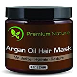 Argan Oil Hair Mask Deep Conditioner - 236 ml Leave In Conditioner Sulfate Free - Damaged & Dry Hair Repair & Growth All Natural - Hydrates Softens Strengthens Premium Nature