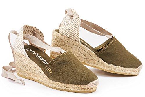 """VISCATA Escala 2.5"""" Heel, Soft Ankle-Tie, Closed Toe, Classic Espadrilles Heel Made in Spain Vert cactus"""
