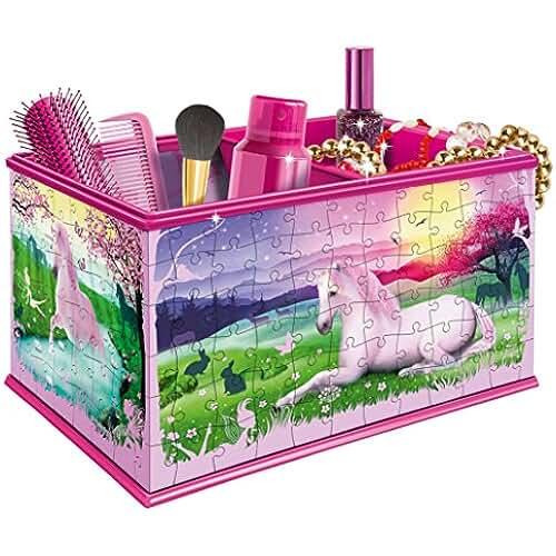 maquillaje unicornio kawaii Ravensburger My 3D Boutique–Puzle 3D de 216 piezas de caja de maquillaje, diseño de unicornios