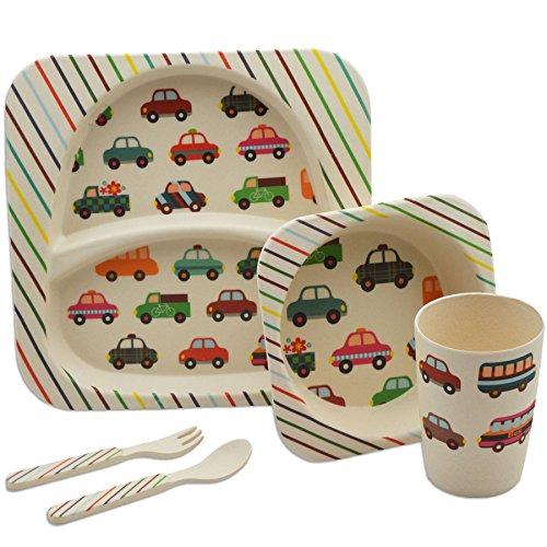 Tiny Dining Ensemble pour Le dîner de 5 pièces en Bambou pour Les Enfants. Assiette, Bol, Tasse, Couteau & Fourchette pour Enfants - Motifs Automobiles