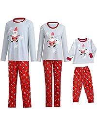 POLP Niño Navidad Santa Claus Ropa niñas Unisex casa Pijama Bebe Navidad Regalo Manga Larga Camiseta Tops a Rayas Pantalones Padres e Hijos Niño Madre e Hijo 2pc Rojo Camisa Sudadera