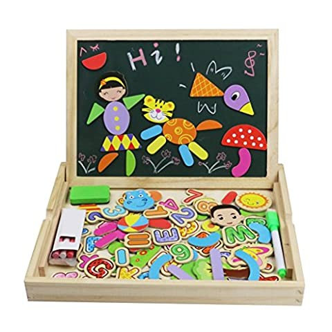 Puzzle en Bois Magnetique Double Face Tableau Blanc Noir Jeux Lettre Jouet Educatifs pour Enfants