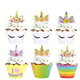 SAIYU Unicornio Cupcake Decoraciones 24 Pack Unicorn Cupcake Toppers Cuerno y Oídos Doble Cara Wrappers Cupcake para Niños Unicorn Birthday Party Rainbow Themed Party Decorations