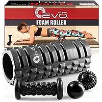 """Yoga rodillo de espuma Evo Bundle – 2 bolas de masaje y masajeador de pies Stick – 13 """"con textura rodillo de alta densidad (Negro)"""