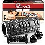 Yoga Foam Roller EVO Bundle - 2 palline da massaggio e piede massaggiatore stick - Rullo strutturato ad alta densità, 33 cm (Nero)