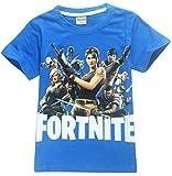EMILYLE Garçon T-Shirt Fortnite Enfant Jeux Vidéo Top d'été Geek Battle Royale Manches Courtes Haut Ado Col Rond, (11-12 Ans) 150cm, équipe Joueurs Rouge