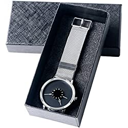 Unusual PAIDU Stainless Steel Mesh Band Shiny Black Dial Popular Quartz Watch Gift