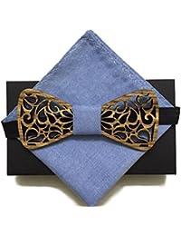 [Garantie à vie] Noeud Papillon en bois fait main arabesque tissu Ecume bleu et carré pochette