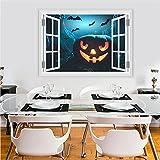 Weaeo Halloween Kürbis Laterne Fliegende Fledermaus Wandaufkleber PVC 3D Vivid Fenster Wandtattoo Wand Kunst Poster Haunted Home Dekoration