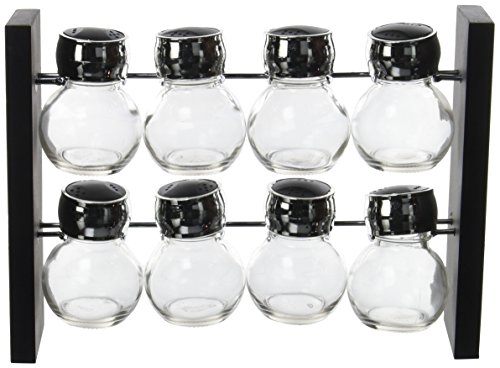 Saveur et Degustation KB5803 Etagere A EPICES 8 Pots 80ML Polypropylène + Verre, Noir-Gris, 28,6 x 9 x 20 cm