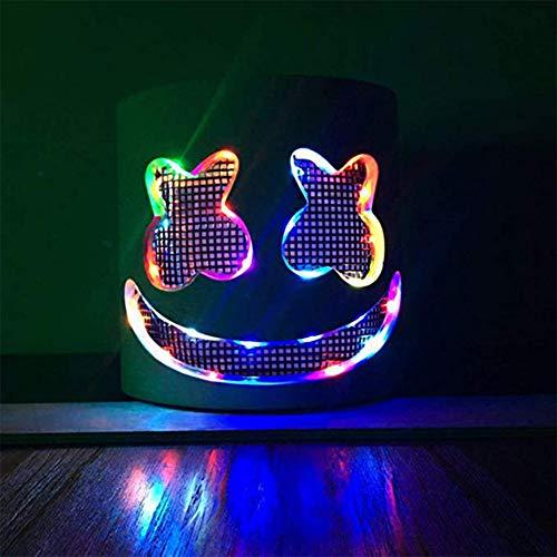 Towinle DJ Marshmello Maske Party Musikfestival LED Leuchten Maske Helm Vollkopf Cosplay Kostüm Halloween Karneval Weihnachten Festival Bar Maske