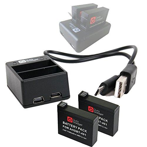 DURAGADGET Mini chargeur USB double + 2 batteries pour caméra GoPro 4,...