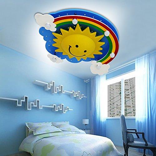 Natsen® LED Deckenleuchte Regenbogensonnen Lampe für Kinder Zimmer 24W kaltweiß blau TX8013