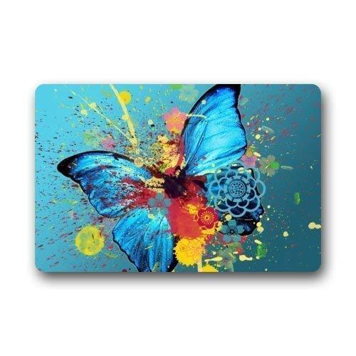 Fußmatte mit blauem Ölspritzer, Schmetterlingsmotiv, Vliesstoff, für Innen- und Außenbereich, Badezimmer-Fußmatte für Zuhause/Büro/Schlafzimmer (L59,9 x 39,9 cm) - Angeln Nebraska