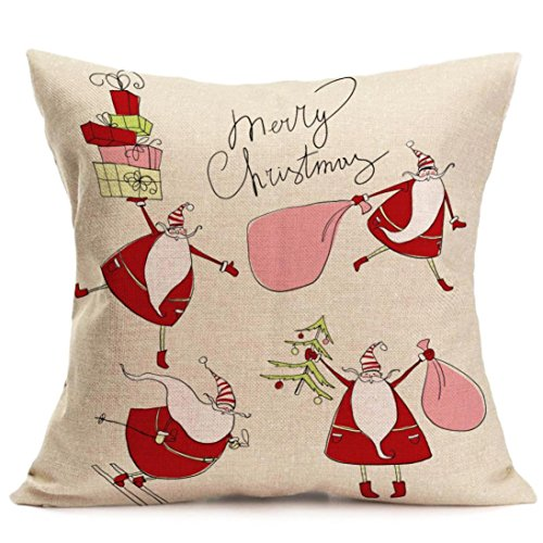 Kavitoz Hot Sale! Christmas Pillow Case, Printing Dyeing Sofa Bed Home Decor Xmas Pillow Cover Festival Party Coffee Cushion Cover 45cmx45cm By (O)
