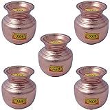 "SHIV SHAKTI ARTS Set Of 5 6.5"" X 5"" Handmade 100% Pure Copper Pot With Lid Volume 1000 ML each Lota Kalash For Yoga Surya Namskar Storage Water Indian Yoga Ayurveda For Good Health"