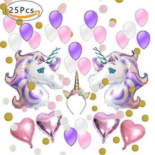IEONGI suministros de decoraciones de fiesta de unicornio,globos de fiesta decoración de unicornio, con 2pcs enorme globo de unicornio, estrella de helio de 4pcs, 1 diadema y 18pcs globos de fiesta de látex para niña pequeña fiesta de cumpleaños de dama de niño, boda (unicornio)