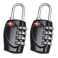 2 x TRIXES 4-Dial TSA Combination Padlock for Luggage Suitcases and Travel Black