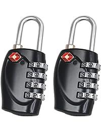 2 TSA Cadenas de Sécurité à Combinaison de 4 Chiffres Cadenas a Code pour Valise Bagages