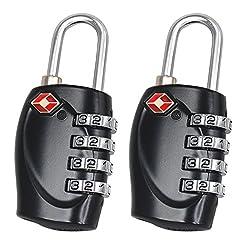 Trixes 2 x Kofferschloss TSA Schloss mit 4 Ziffern für Reisen in Schwarz
