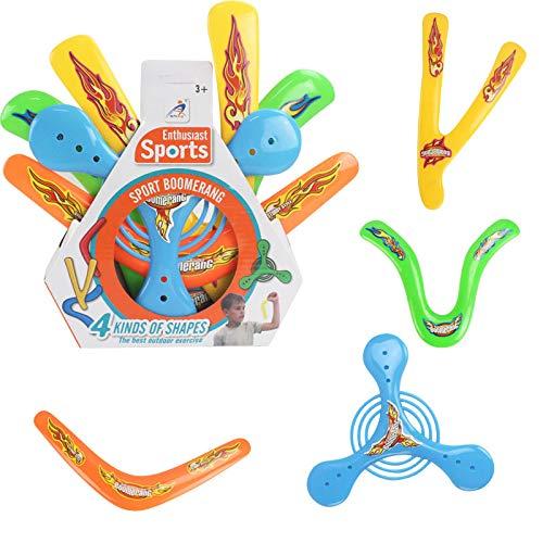 Kany 4 Stück Boomerang, Kunststoff Boomerang Bunter Rückkehr Boomerang Außen Magie Sports Boomerang