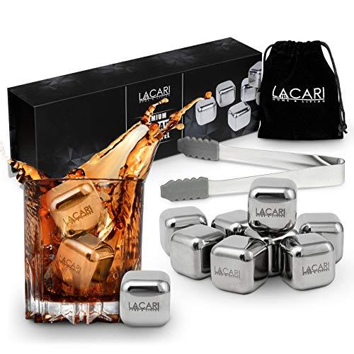 Lacari ® [8x] Wiederverwendbare Edelstahl Eiswürfel - Inkl GRATIS Zange, Stoffbeutel und Ebook - Kein Verwässern von Getränken mehr