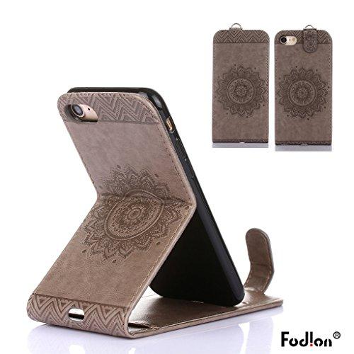 Cover iphone 7 Hülle,Fodlon® Totem Geprägt Up-Down öffnen PU-Leder Flip Stand mit Schwarz Lanyard Hülle Abdeckung zum iphone7-Gold grau