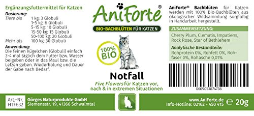 AniForte® Bachblüten Five Flowers Notfall für Katzen 20 g Globuli – Naturprodukt für Katzen