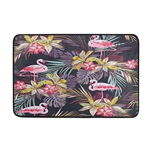 Alaza Tropische Palme Blätter Flamingo Fußmatte Indoor Outdoor Eingang Boden Fußmatte Badezimmer 59,9x 39,9cm (Palm-baum-design-teppich)