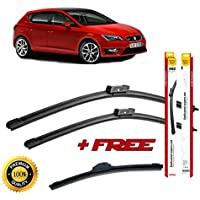 Set of 3 flat blade wiper blades for SEAT LEON III 2012 rear wiper FREE of