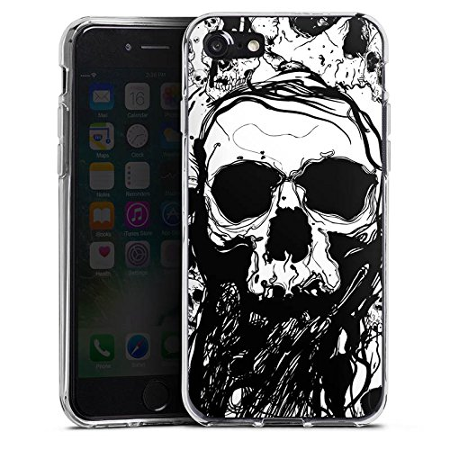 Apple iPhone 7 Hülle Case Handyhülle Skull Totenkopf Totenschädel Silikon Case transparent
