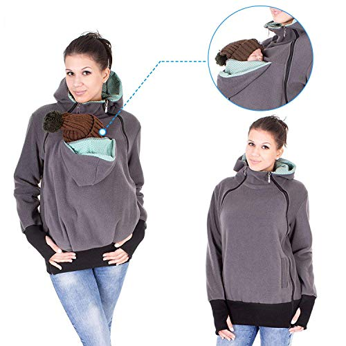 Exclusive Version-NeuFashion Double Thick Real Baby Carrier Hoodie Jacket  Kangaroo Coat Jacket Women 52a6f4df7f9e