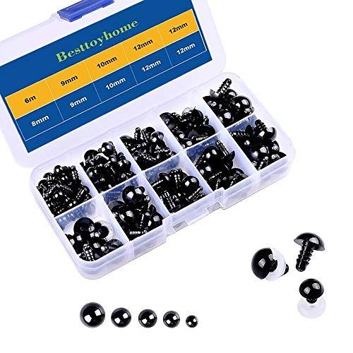 150 Stück 6 - 12mm Kunststoff Sicherheit Augen mit Unterlegscheiben für Puppe, Marionette, Plüschtier (Schwarz)