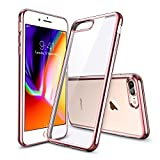 ESR Coque pour iPhone 8 Plus, Coque Transparente Gel Silicone TPU Souple avec Cadre Brillant Chromé, Bumper Housse Etui de Protection [Ultra Fin] pour Apple iPhone 7/8 Plus (Contour Rose)
