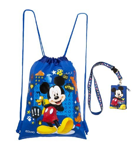 Disney Mickey Mouse Blue Drawstring Backpack and Mickey Lanyard 2 Pack by Disney