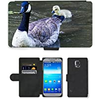 Grand Phone Cases PU Leather Flip Custodia Protettiva Case Cover per // M00141021 Canada Goose Goose Chicks Animaux // Samsung Galaxy S5 S V SV i9600 (Not Fits S5 ACTIVE)