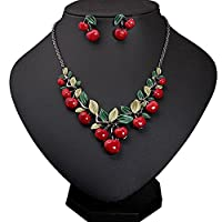 S&E Cherry Necklace Earrings Girl Fashion Jewelry Set for Wedding Party Bride