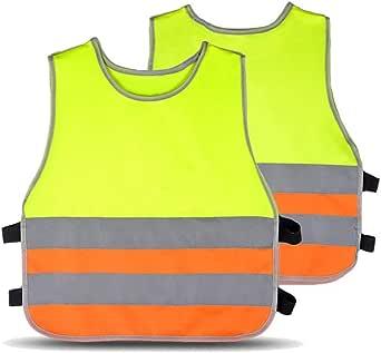 Hycoprot Warnwesten Kinder Baby Hohe Sichtbarkeit Reflektierende Sicherheitsweste Kleinkind Arbeitskleidung Weste Jacke 2 Band Elastische Gurte Bekleidung