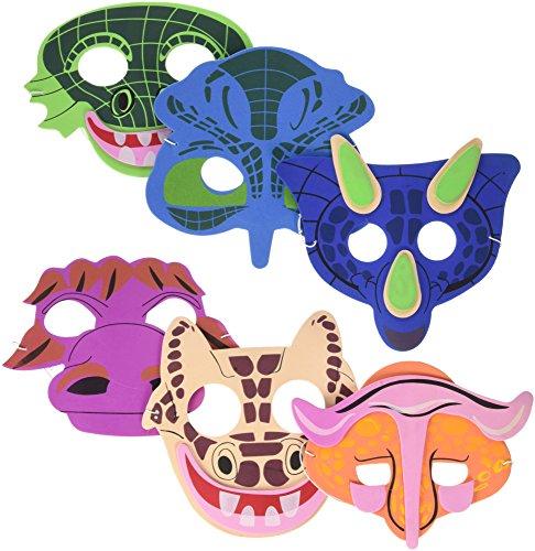 12Dinosaurier Masken aus Schaumstoff-Dinosaurier Party Favor Masken