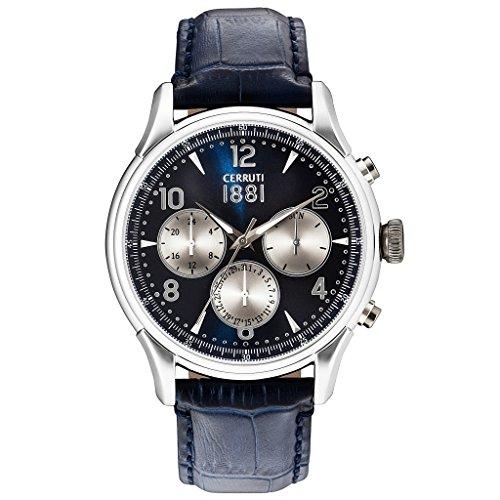 Cerruti cra107sn03bl Bellagio Reloj Reloj de hombre piel pulsera de acero inoxidable 50m Analog Fecha Azul