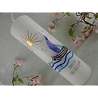 Taufkerze Boot blau silber Taufkerzen Junge Mädchen 250/70 mm inkl. Beschriftung