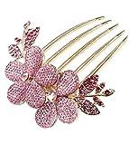 ANKKO Donne elegante affascinante strass fiore modello fermacapelli a pettine Forcina (Rosa)