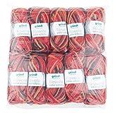 Gründl Color, Vorteilspack: 10 Knäuel à 50 g Filzwolle, Wolle, rot-orange-schwarz Multicolor, 31 x 32 x 6 cm