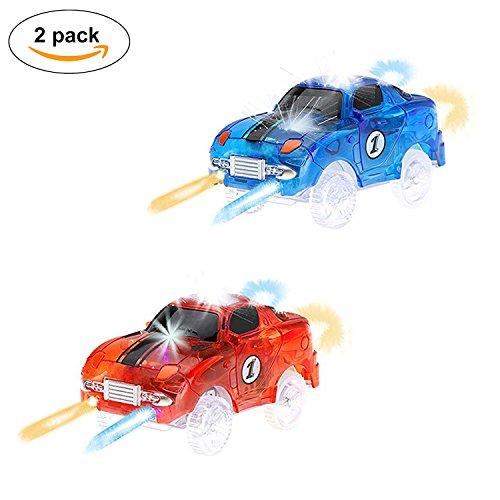 Spielzeug Auto,MIGE Spielzeug Auto Spur Led Licht Auto Im Dunkeln Leuchten Zubehör Kompatibel mit den Meisten Auto Rennen Magic Tracks,Ideal Für Childs Geschenke(Packung von 2) (Rc Car Aufkleber-kit)