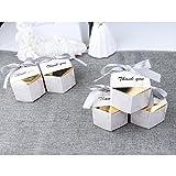 AerWo 20pcs boîtes de faveur de Mariage en marbre, décorations de boîtes de faveur de Mariage en Argent, Cadeaux de faveur de Mariage hexagonale Boîtes avec Rubans pour Mariage Nuptiale de Douche