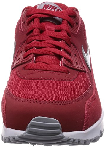 Nike Air Max 90 Leather, Running Entrainement Homme Rouge - Rot (602 GYM RD/MTLC PWTR-WHITE-WLF GRY)