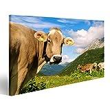 islandburner Bild Bilder auf Leinwand Kuh in der Wiese der Schweizer Alpen Wandbild, Poster, Leinwandbild JAR