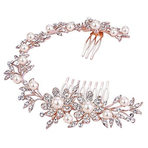 Clearine Damen Bohemian Hochzeit Brautschmuck Gänseblümchen Kristall Ivory Farbe Bling Kopfband Haar Kamm Klar Rotgold (Kostüm Ideen Für Die 2 Besten Freunde)