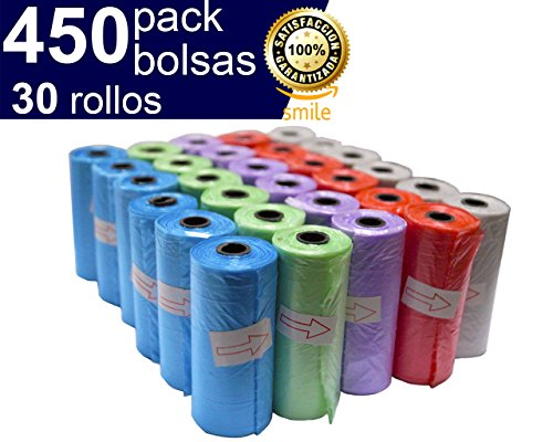 Foto de BriMix 450 Bolsas para excrementos de perros Color SURTIDO. Fácil de separar. 30 rollos x 15 bolsas/rollo. Poop bags para recoger la caca de su perro o heces de las mascotas. Tamaño Grande