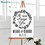 woyaofal Custom Wedding Sign Name Date Laurel It Was Always You Personalized Wedding Anniversary Decal Removable Vinyl Wall Stickers 57x77cm